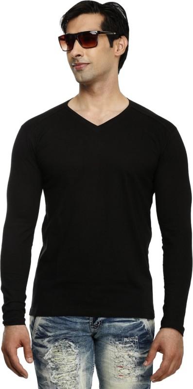 Tees Collection Solid Men's V-neck Black T-Shirt