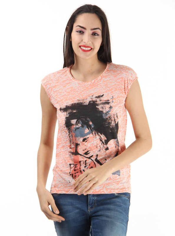 Pepe Jeans Printed Women Round Neck Orange T-Shirt