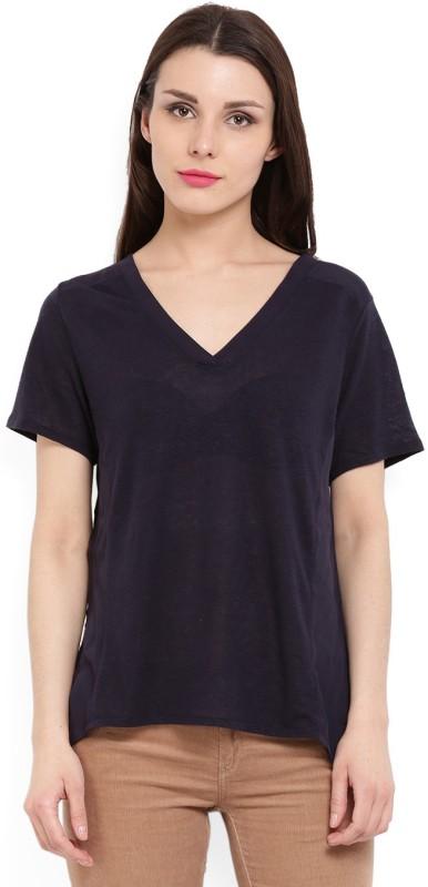 MANGO Solid Women's V-neck Dark Blue T-Shirt