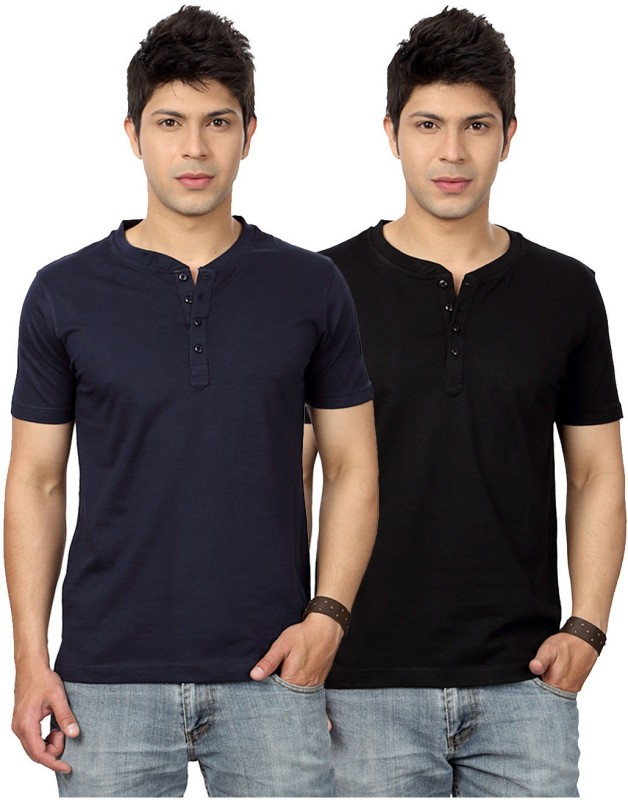 Top Notch Solid Men's Henley Dark Blue, Black T-Shirt(Pack of 2)