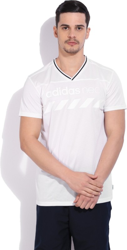 Adidas Printed Men's V-neck White T-Shirt