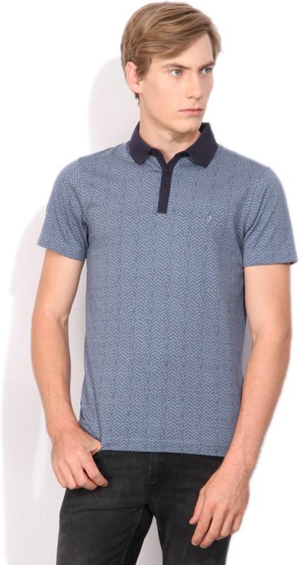 Indian Terrain Printed Mens Polo Neck Blue T-Shirt