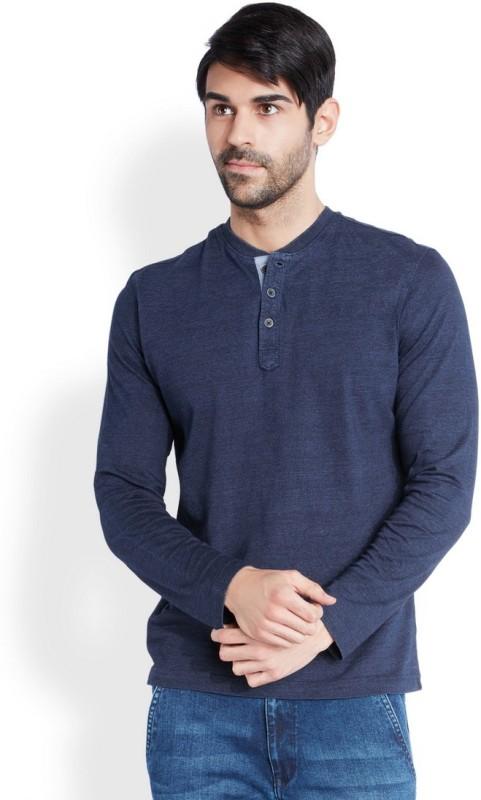 Park Avenue Solid Mens Henley Blue T-Shirt
