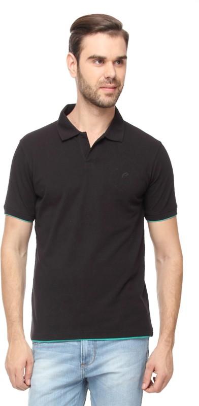 Proline Solid Mens Polo Neck Black T-Shirt