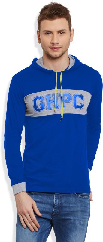 GHPC Solid Men's Hooded Blue T-Shirt
