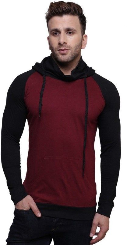 Leana Solid Men's Hooded Maroon, Black T-Shirt