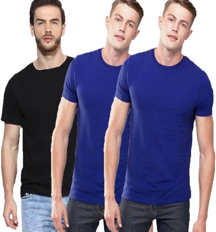 Feed Up Solid Men's Round Neck Multicolor T-Shirt(Pack of 3)