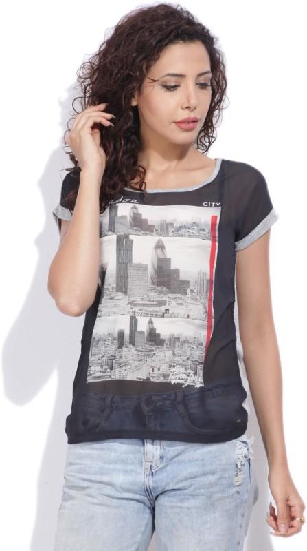 Pepe Jeans Printed Women Round Neck Black, Grey T-Shirt