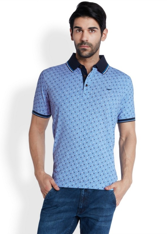 Park Avenue Printed Mens Flap Collar Neck Blue T-Shirt
