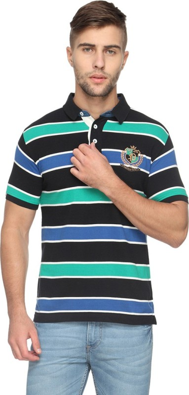 Proline Striped Mens Polo Neck Black T-Shirt