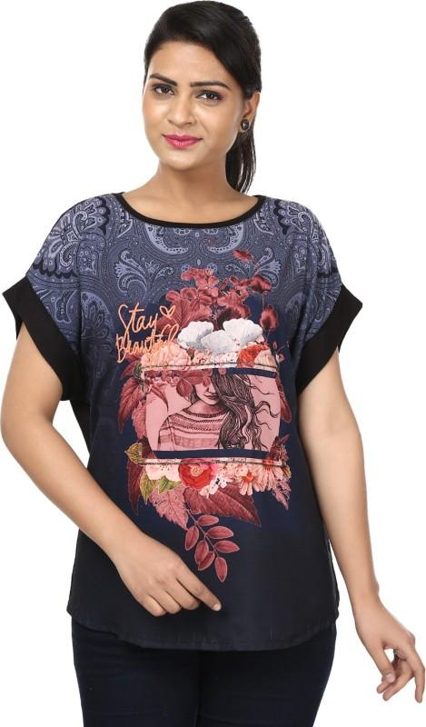 Raw Designs Printed Women's Scoop Neck Dark Blue T-Shirt