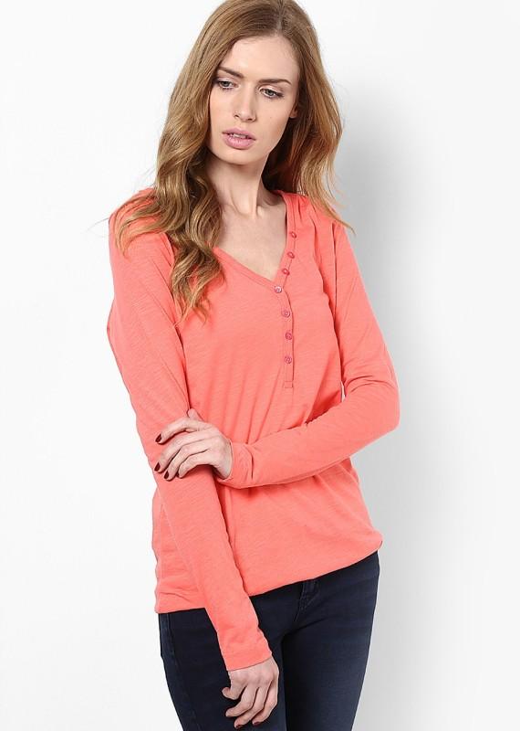 Only Solid Women's V-neck Orange T-Shirt