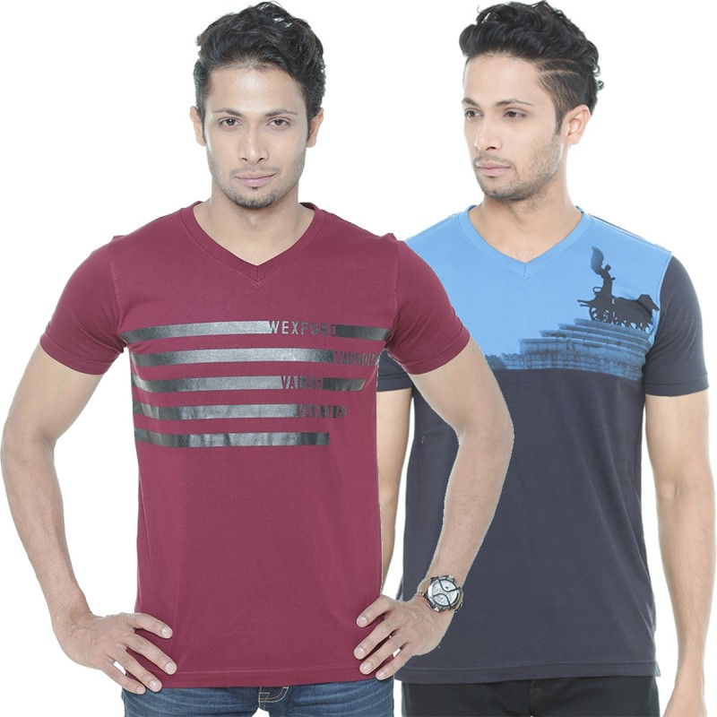 Wexford Printed Men's V-neck Multicolor T-Shirt(Pack of 2)