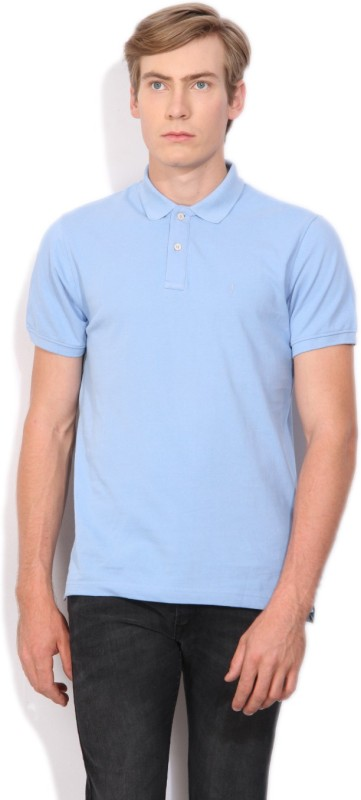 Indian Terrain Solid Mens Polo Neck Blue T-Shirt