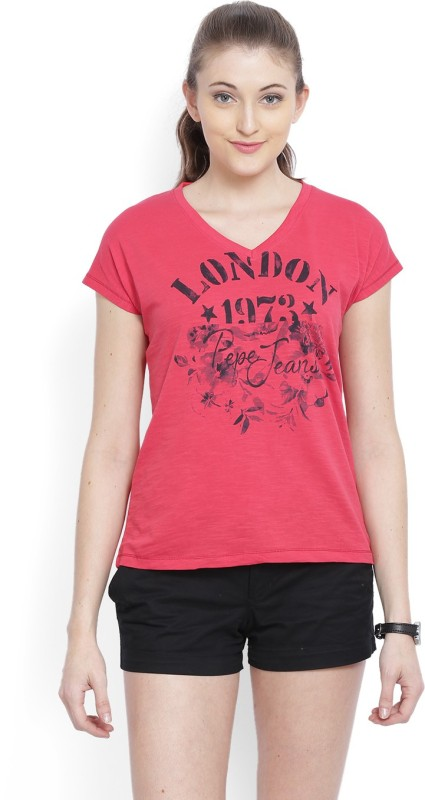 Pepe Jeans Printed Women V-neck Red T-Shirt
