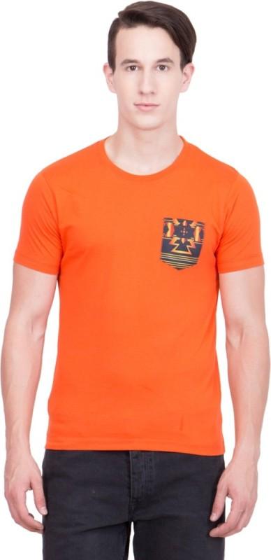 99 Hunts Solid Men's Round Neck Orange T-Shirt