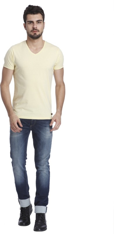 Jack & Jones Solid Mens V-neck Beige T-Shirt
