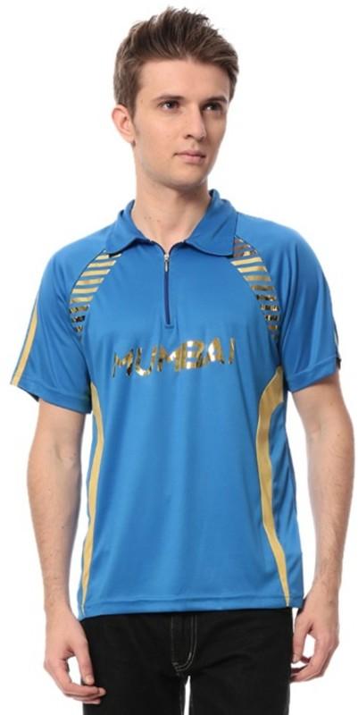 T10 Sports Printed Men's Mandarin Collar Blue T-Shirt