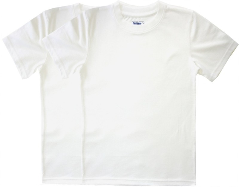 Cotton Solid Boys Round Neck White T-Shirt(Pack of 2)