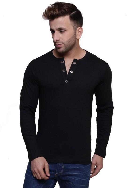 Leana Solid Men's Henley Black T-Shirt