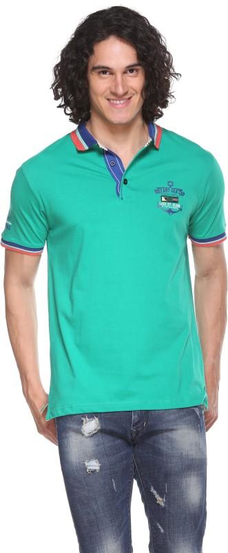 Pro Riders Self Design Men's Flap Collar Neck Green T-Shirt