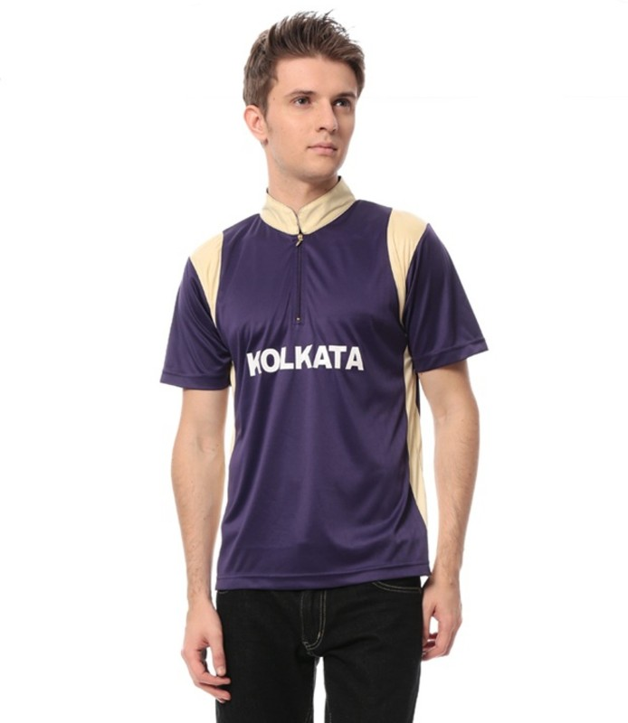T10 Sports Solid Men's Mandarin Collar Purple T-Shirt