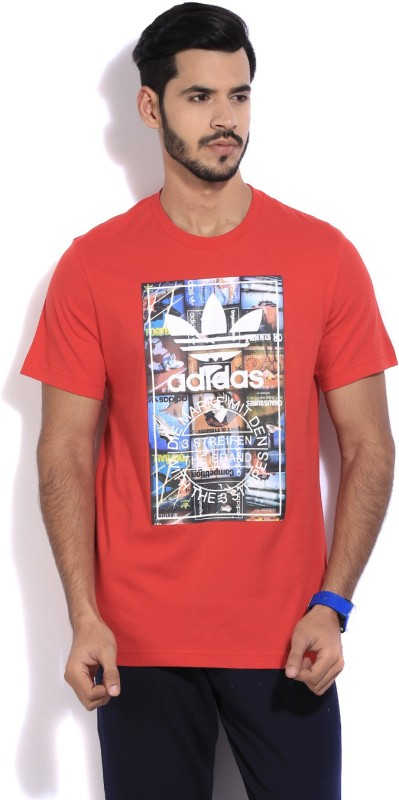 Adidas Printed Men's Round Neck Red T-Shirt
