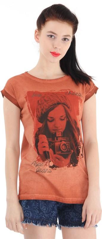 Pepe Jeans Graphic Print Women Round Neck Orange T-Shirt