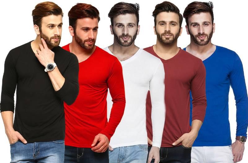 Tripr Solid Men V-Neck Multicolor, Black, Red, White, Maroon, Blue T-Shirt