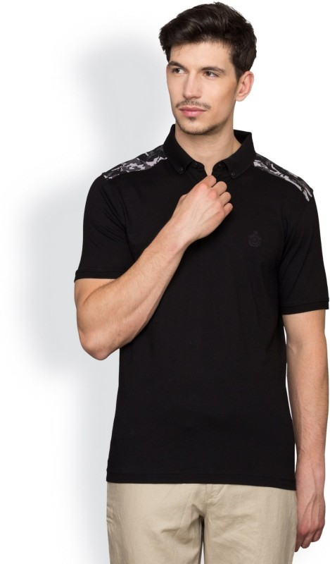 Blackberrys Solid Mens Polo Neck Black T-Shirt