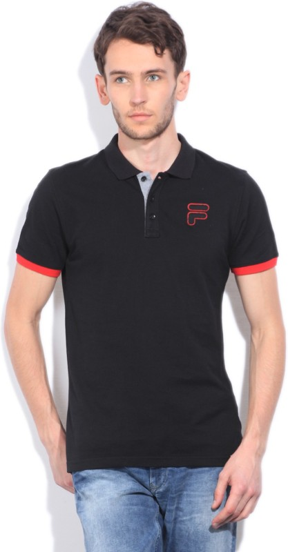 Fila Solid Mens Polo Neck Black T-Shirt