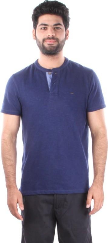 Indian Terrain Solid Mens Henley Dark Blue T-Shirt