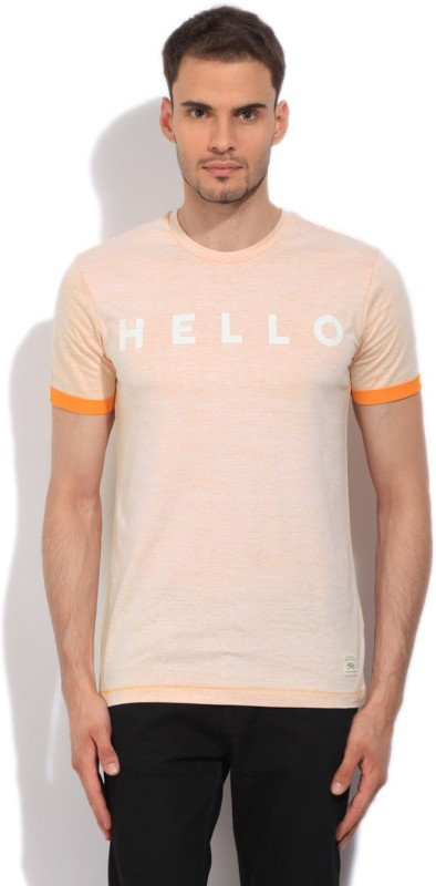 United Colors of Benetton Printed Mens Round Neck Beige, Yellow T-Shirt