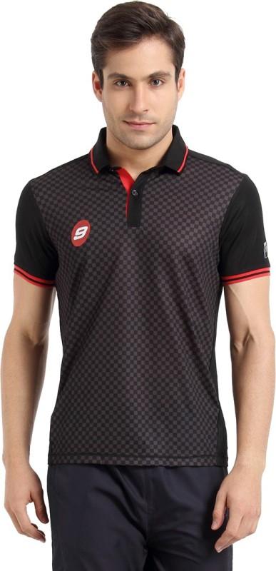 Proline Printed Mens Polo Neck Black T-Shirt