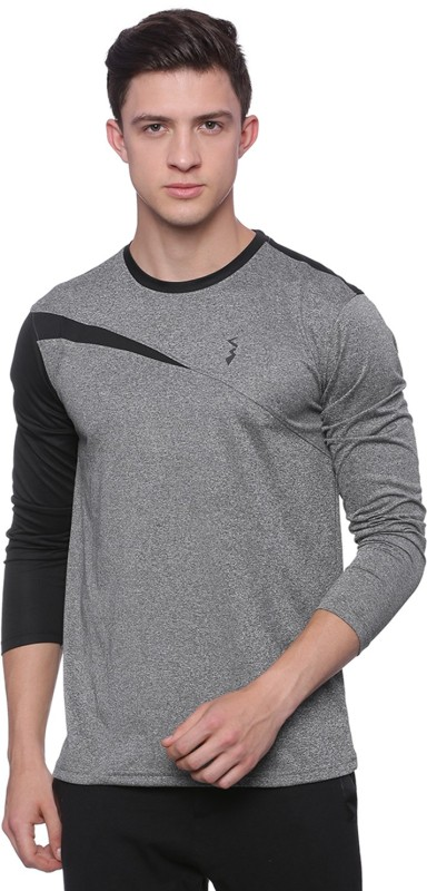 Campus Sutra Solid Men Round Neck Black, Grey T-Shirt