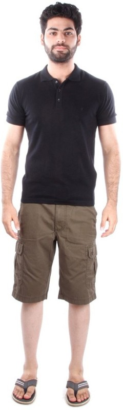 Indian Terrain Solid Mens Flap Collar Neck Black T-Shirt