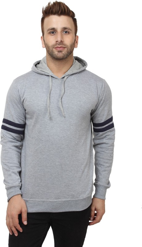 SayItLoud Solid Men's Hooded Grey, Blue T-Shirt