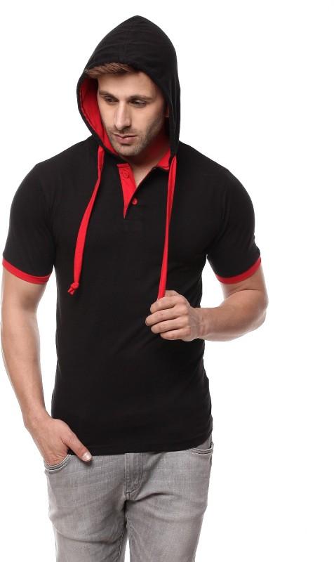 Gritstones Solid Men's Hooded Red, Black T-Shirt