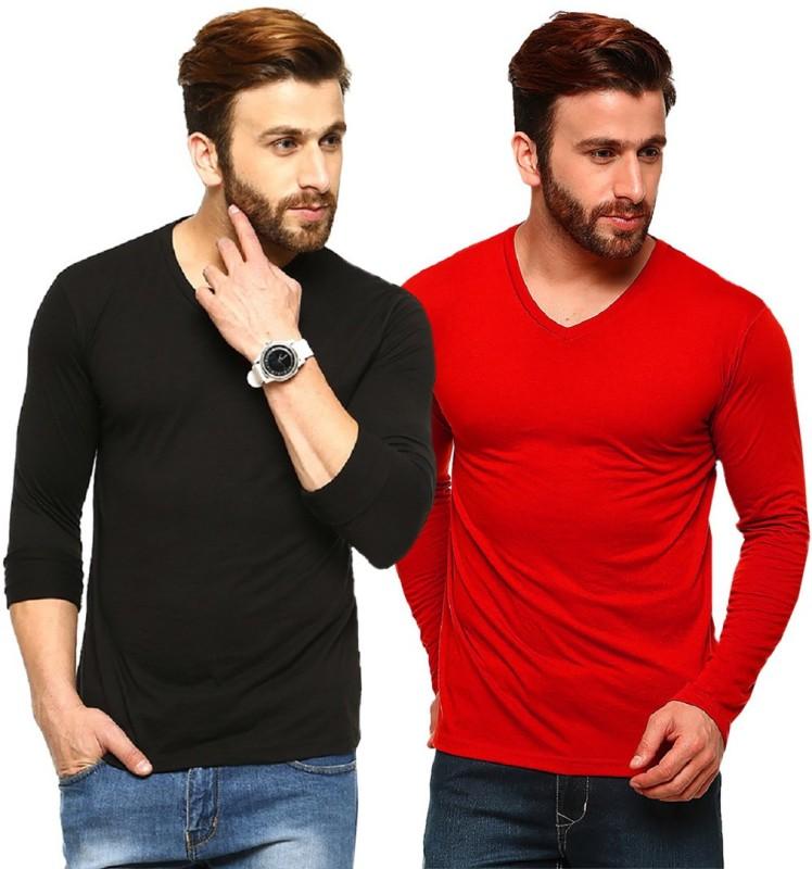 Tripr Solid Men's V-neck Black, Red T-Shirt(Pack of 2)