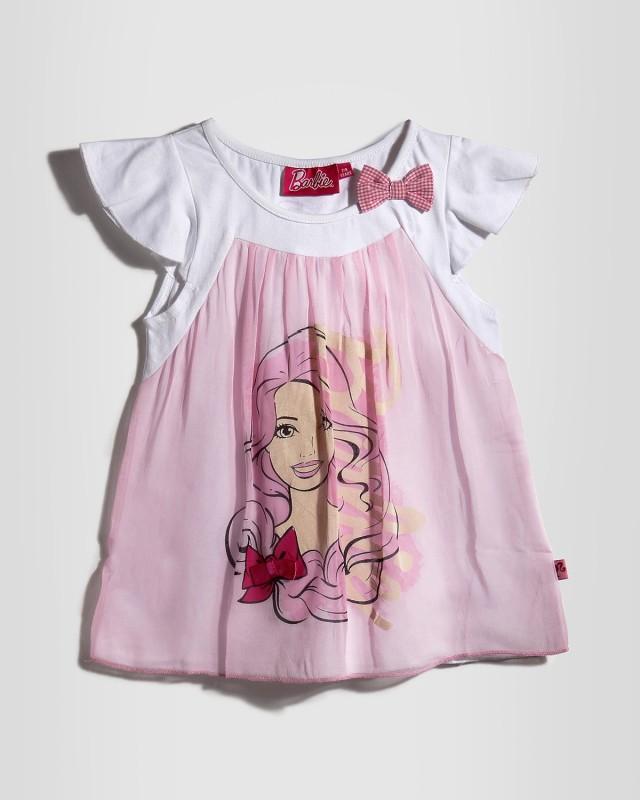 Barbie Girls Graphic Print T Shirt(Pink)
