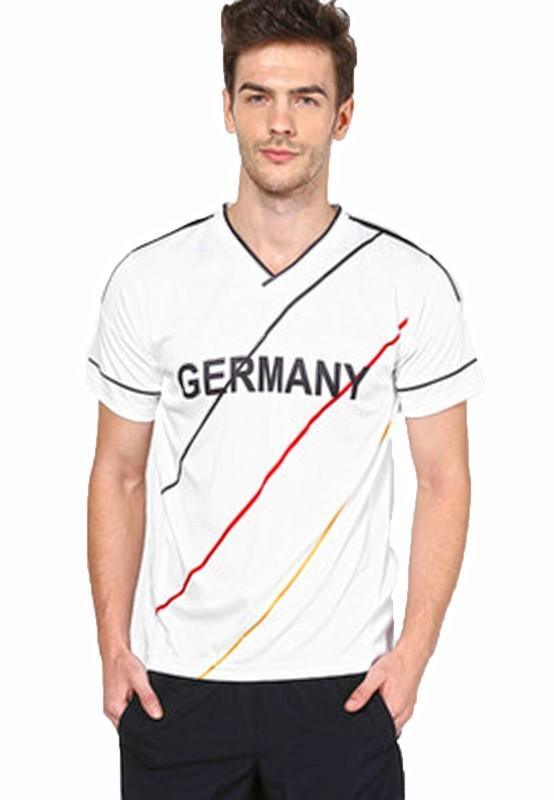 T10 Sports Printed Men V-neck White T-Shirt