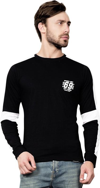 Maniac Solid Men's Round Neck Black, White T-Shirt
