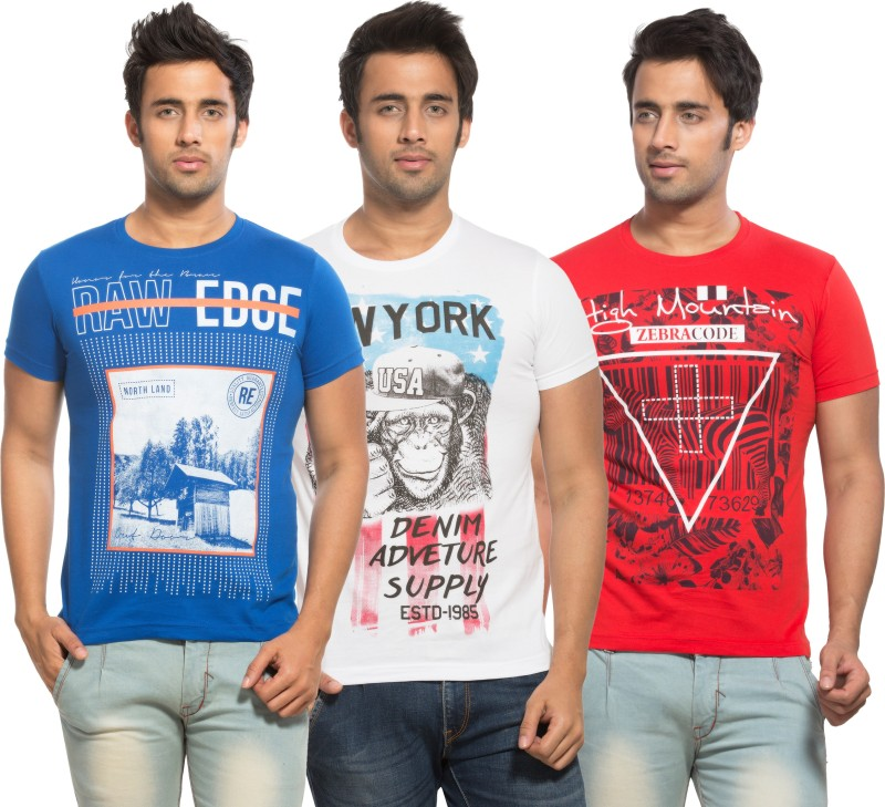 Maniac Solid Men's Henley Multicolor T-Shirt(Pack of 3)