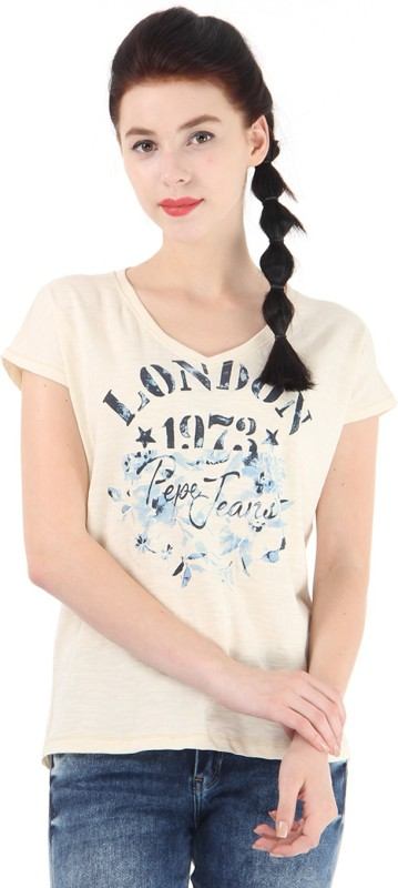 Pepe Jeans Printed Women Round Neck Beige T-Shirt