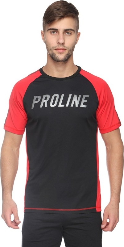 Proline Self Design Mens V-neck Black T-Shirt