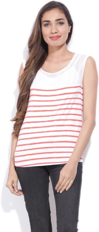 Pepe Jeans Striped Women Round Neck White, Orange T-Shirt
