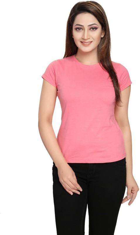 Vestonice Solid Women's Round Neck Pink T-Shirt