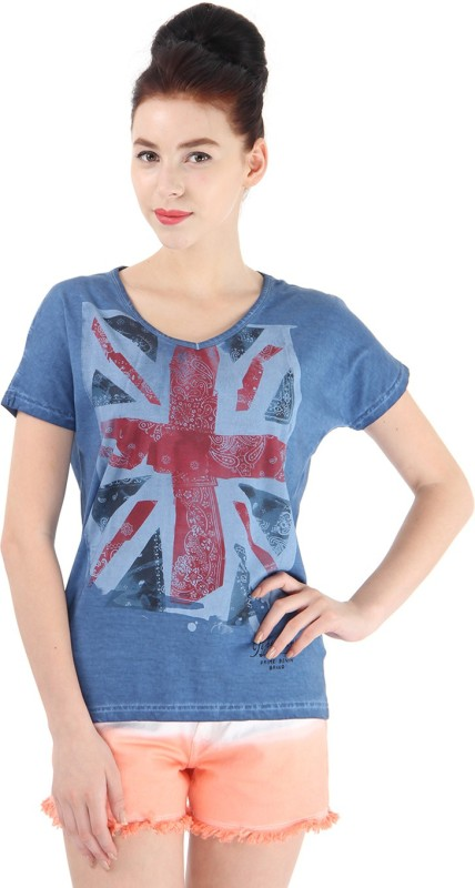 Pepe Jeans Printed Women V-neck Multicolor T-Shirt