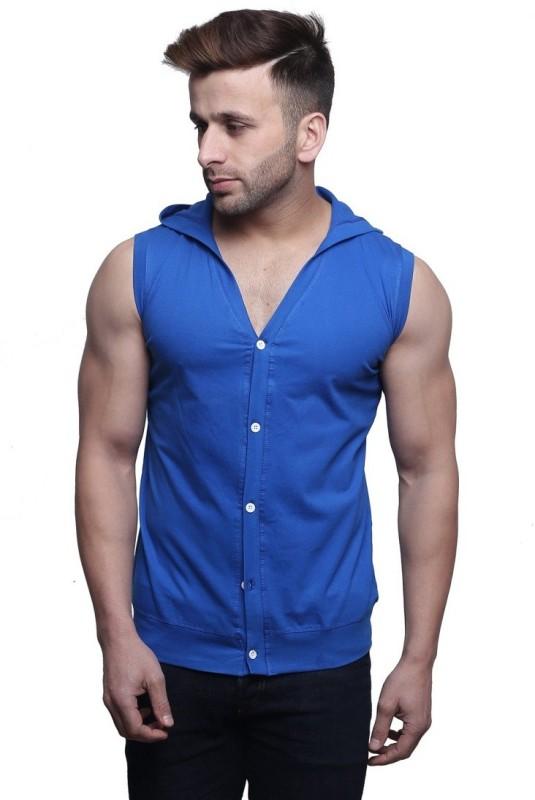 Leana Solid Men's Hooded Blue T-Shirt