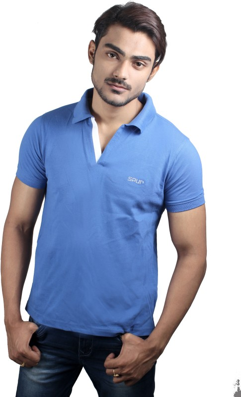 spur-solid-mens-polo-neck-blue-t-shirt